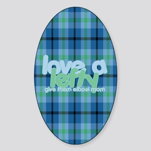 Love a Lefty Plaid Blue Sticker (Oval)