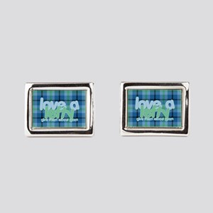 Love a Lefty Plaid Blue Rectangular Cufflinks