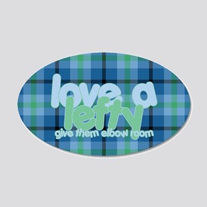 Love a Lefty Plaid Blue 20x12 Oval Wall Decal