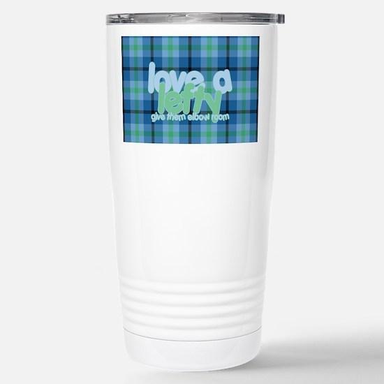 Love a Lefty Plaid Blue Stainless Steel Travel Mug