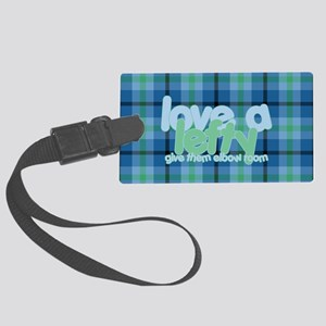Love a Lefty Plaid Blue Large Luggage Tag