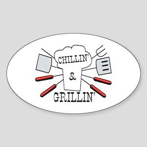 Chillin & Grillin BBQ Fun Sticker (Oval)