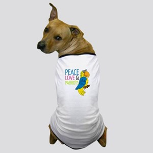 Peace Love Parrots Dog T-Shirt
