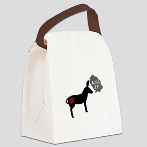 Donkey Says Kiss It With Kissy Li Canvas Lunch Bag