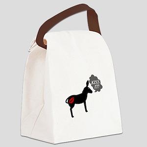 Donkey Says Kiss It With Kissy Li Canvas Lunch Bag