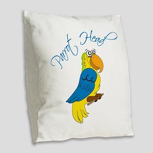 Parrot Head Burlap Throw Pillow