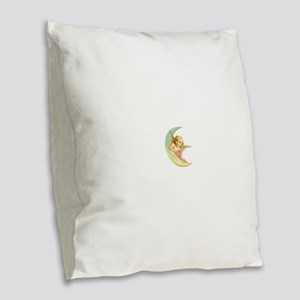 Pink Moon Angel Burlap Throw Pillow