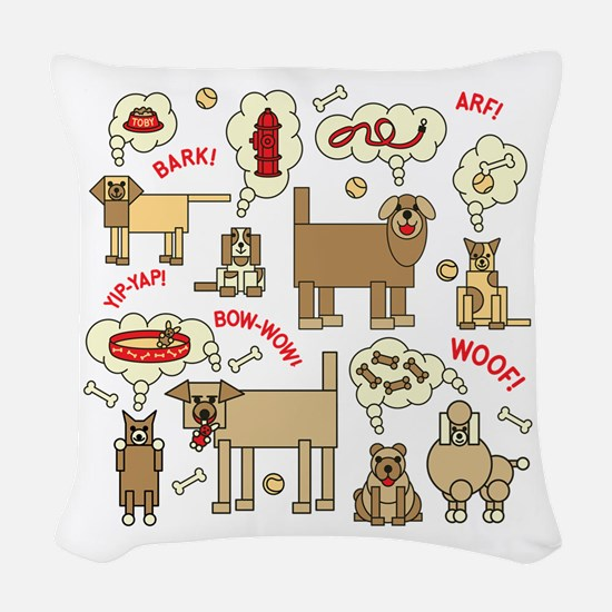 What Dogs Think Woven Throw Pillow