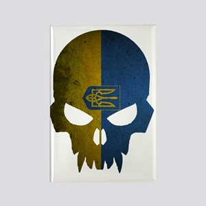 Ukraine Flag Skull Rectangle Magnet