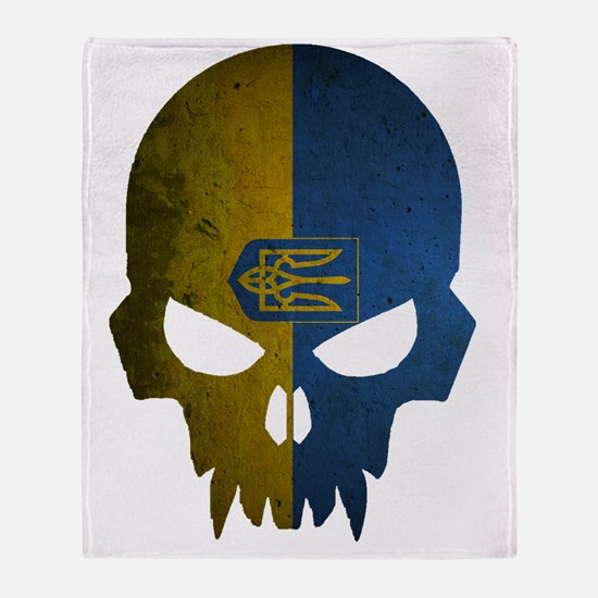 Ukraine Flag Skull Throw Blanket