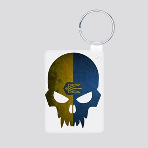 Ukraine Flag Skull Aluminum Photo Keychain