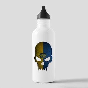 Ukraine Flag Skull Stainless Water Bottle 1.0L