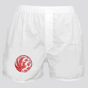 Traditional Red Phoenix Circle Boxer Shorts