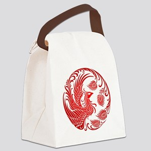 Traditional Red Phoenix Circle Canvas Lunch Bag