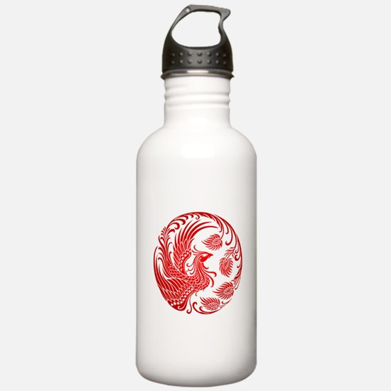 Traditional Red Phoenix Circle Water Bottle