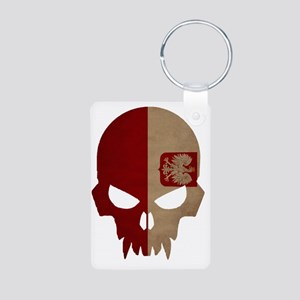 Polish Flag Skull Aluminum Photo Keychain
