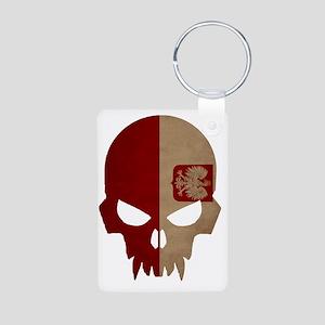 Polish Flag Skull Aluminum Photo Keychain