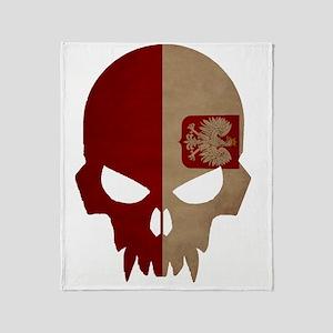 Polish Flag Skull Throw Blanket