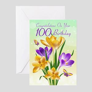 100th Birthday Crocus Greeting Cards (pk Of 20)