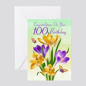 100th Birthday Crocus Card Greeting Cards