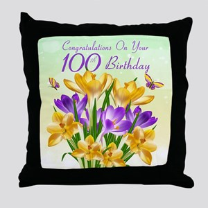 100th Birthday Crocus Throw Pillow