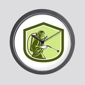 Pest Control Exterminator Spraying Shield Retro Wa