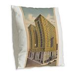 Mayflower Hotel Burlap Throw Pillow