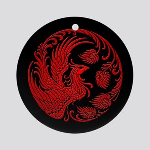 Traditional Red Phoenix Circle on Black Ornament (