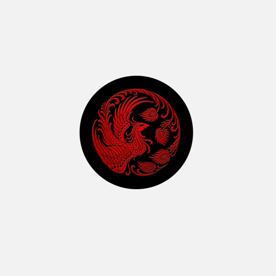 Traditional Red Phoenix Circle on Black Mini Butto
