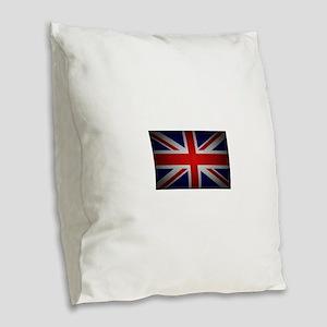 british Burlap Throw Pillow
