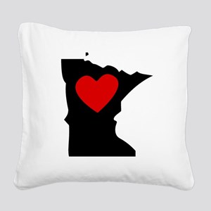 Minnesota Heart Square Canvas Pillow