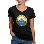 USS McKEE Women's V-Neck Dark T-Shirt