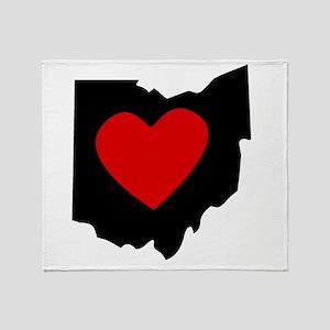 Ohio Heart Throw Blanket