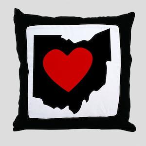 Ohio Heart Throw Pillow