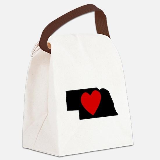 Nebraska Heart Canvas Lunch Bag