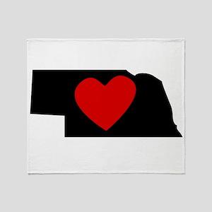Nebraska Heart Throw Blanket