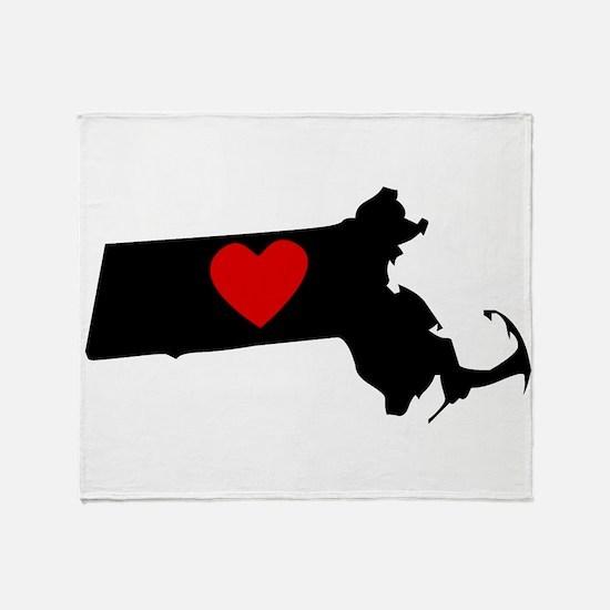 Massachusetts Heart Throw Blanket