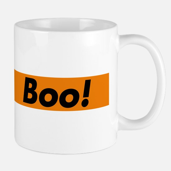Boo! typography design for Halloween Mugs