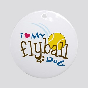 I Love My Flyball Dog Ornament (Round)