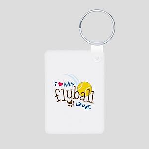 I Love My Flyball Dog Keychains