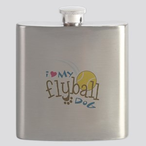 I Love My Flyball Dog Flask