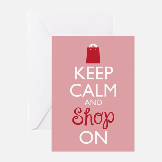 Keep Calm and Shop On Greeting Cards
