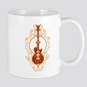 Intricate Golden Red Guitar Design Mugs