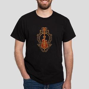 Intricate Golden Red Guitar Design T-Shirt