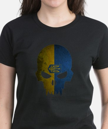 Ukraine Flag Skull Women's Dark T-Shirt