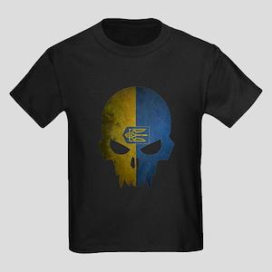 Ukraine Flag Skull Kids Dark T-Shirt