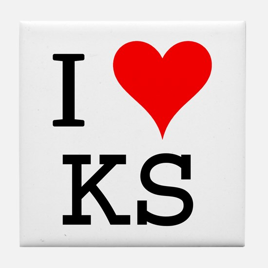 I Love KS Tile Coaster