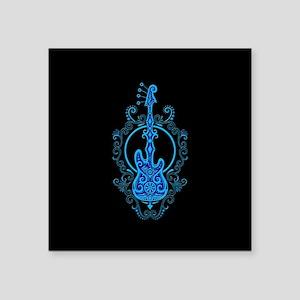 Intricate Blue Bass Guitar Design on Black Sticker