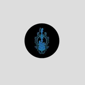 Intricate Blue Bass Guitar Design on Black Mini Bu