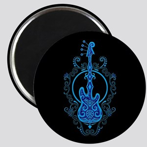 Intricate Blue Bass Guitar Design on Black Magnets